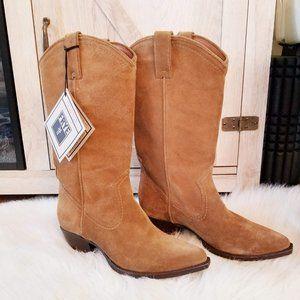 NWT Frye Tan Suede Cowboy Boots
